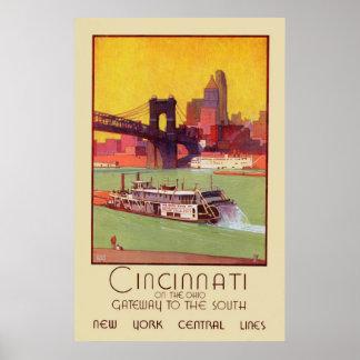 Cincinnati auf dem Ohio-Zugang zum Süden Poster