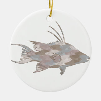 Cindy CamouflageHogfish Rundes Keramik Ornament