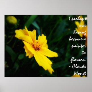 Citation jaune de Monet de fleur Poster