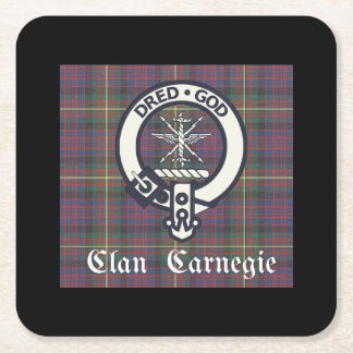 Clan-Carnegie-WappenTartan Kartonuntersetzer Quadrat