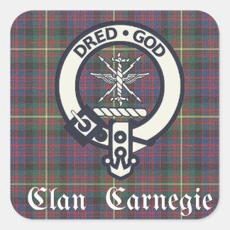 Clan-Carnegie-WappenTartan Quadratischer Aufkleber