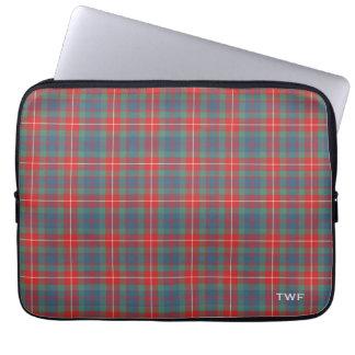 Clan Fraser alter Tartan mit Monogramm Laptopschutzhülle