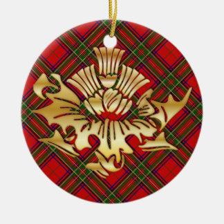 Clan-StewartTartanu. Imitat-Goldscottish-Disteln Keramik Ornament