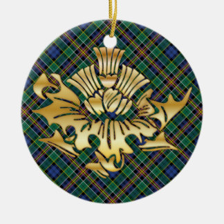 ClanAllisonTartanu. Imitat-Goldscottish-Disteln Keramik Ornament
