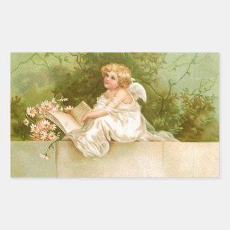 Clapsaddle : Ange avec le livre et les fleurs Sticker Rectangulaire