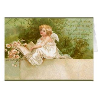 Clapsaddle: Engel mit Buch und Blumen Karte