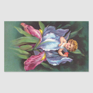 Clapsaddle : Iris d'ange de fleur Sticker Rectangulaire