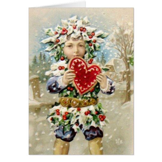 Clapsaddle: Stechpalmen-Junge mit Herzen Grußkarte