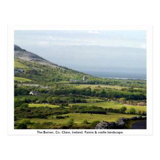 Clare, Irland, Bauernhäuser u. Felder in Kilfenora Postkarte