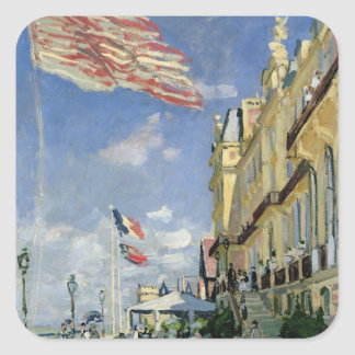 Claude Monet   das Hotel-DES Roches Noires Quadratischer Aufkleber