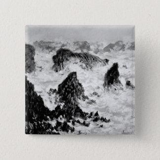Claude Monet   die Felsen von Belle-Ile, 1886 Quadratischer Button 5,1 Cm