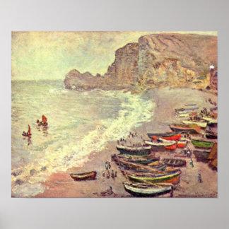 Claude Monet - Etretatstrand und Porte dAmont Poster