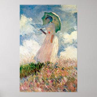Claude Monet - Frau mit Sonnenschirmstudie Poster
