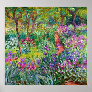 Claude Monet : Le jardin d'iris chez Giverny Poster