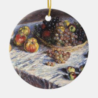 Claude Monet-Stillleben mit Äpfeln und Trauben Rundes Keramik Ornament