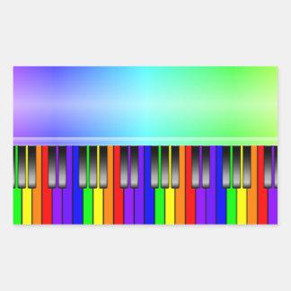 Clavier de piano d'arc-en-ciel sticker rectangulaire