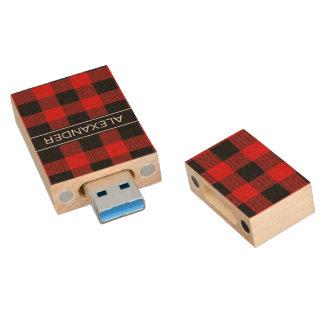 Clé USB Monogramme rouge de nom de plaid de contrôle de