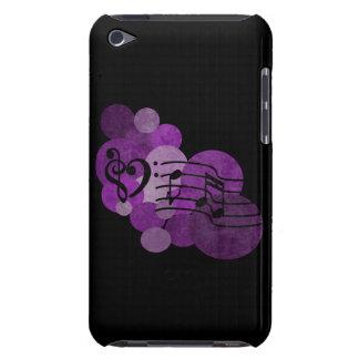 clefs de musique de coeur et caisse pourpre d'iPod Coques Barely There iPod