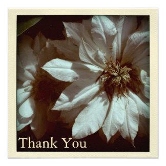 Clematis-Blumenphotographie danken Ihnen flache Karte