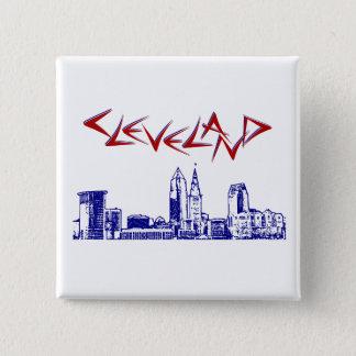 Cleveland-Skyline Quadratischer Button 5,1 Cm