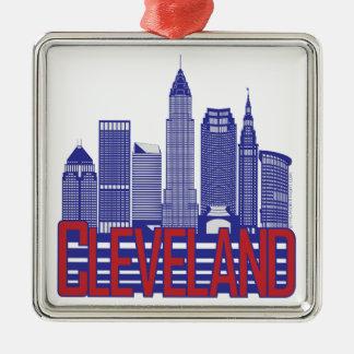 Cleveland-Stadt-Farben Silbernes Ornament