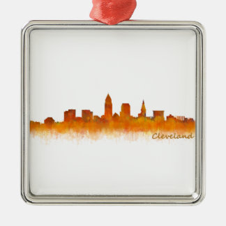 cleveland watercolor City US skyline Silbernes Ornament