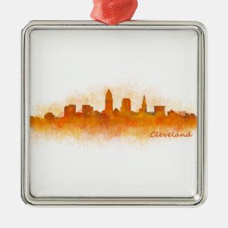 cleveland watercolor City US skyline v3 Silbernes Ornament