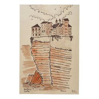 Cliffside Stadt von Bonifacio, Korsika, Frankreich Holzdruck