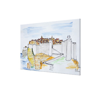 Cliffside Stadt von Bonifacio | Korsika, Leinwanddruck