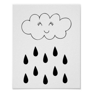 Cloud & raindrops affiche nursery children's room poster