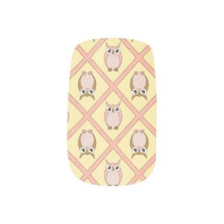 Clous de Minx de hiboux de crèche - rose Stickers D'ongles