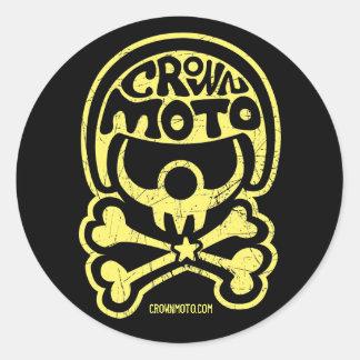 Clown-Aufkleber cm Moto (Vintages Gelb) Runder Aufkleber