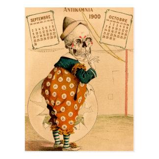 Clown-Skeleton Vintage Illustration Postkarte