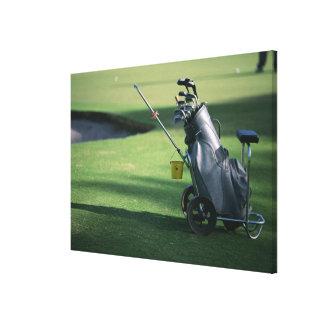 Clubs de golf et sac de golf toile tendue sur châssis