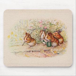 Cobayes plantant dans le jardin tapis de souris