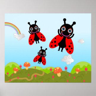 Coccinelle et champignons poster