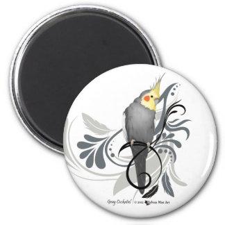 Cockatiel gris magnet rond 8 cm