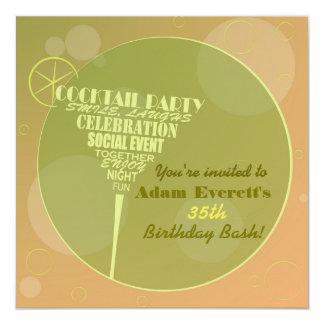 Cocktail-Partyentwurf Quadratische 13,3 Cm Einladungskarte