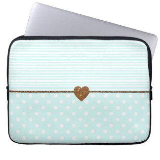 Coeur blanc turquoise de scintillement de faux trousses pour ordinateur portable