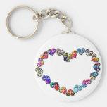 Coeur coloré d'énigme porte-clef