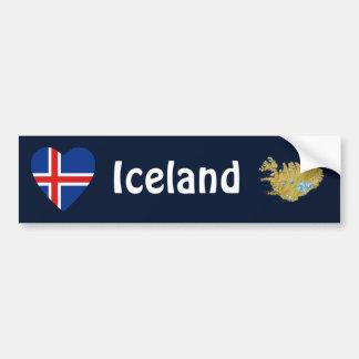 Coeur de drapeau de l'Islande + Adhésif pour pare- Autocollant De Voiture