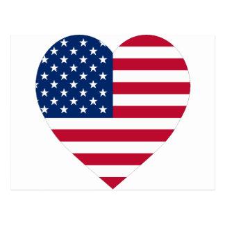 Coeur de drapeau des Etats-Unis Carte Postale