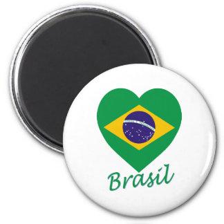 Coeur de drapeau du Brésil Magnets Pour Réfrigérateur
