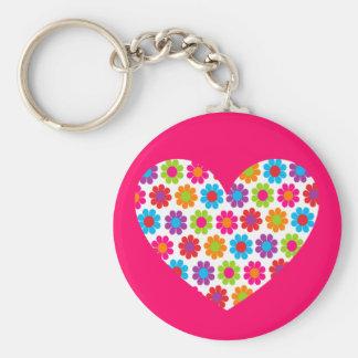 Coeur de flower power porte-clé rond