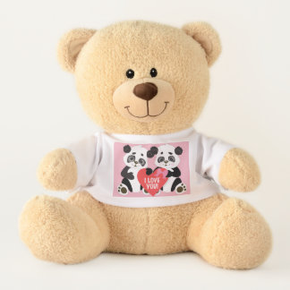 Coeur de rouge de deux ours panda