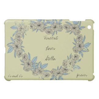 Coeur floral d'amour personnalisé étui iPad mini