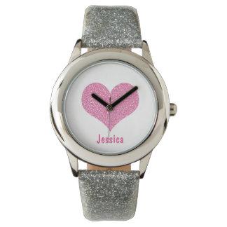 Coeur rose - montre nommée Girly personnalisée