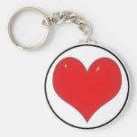 Coeur rouge brillant (ajoutez votre texte) porte-clé rond