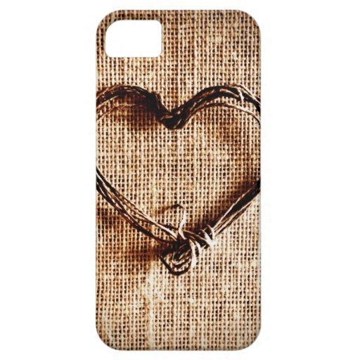 Coeur rustique de ficelle de pays sur la copie de  coques Case-Mate iPhone 5