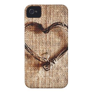 Coeur rustique de ficelle de pays sur la copie de  étuis iPhone 4